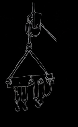 Suspension on hooks, hooks, pulley scheme – suspension equipment